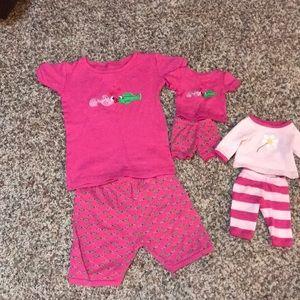 Levert PJ set with matching doll PJs